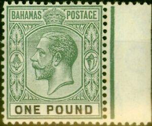 Bahamas 1912 £1 Dull Green & Black SG89 Fine Mtd Mint