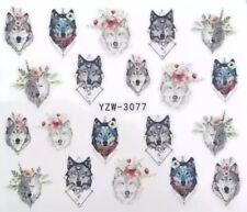Nagelsticker Tattoo Blumen Blüten Wolf Wölfe Nail Art Sticker Wassertransfer