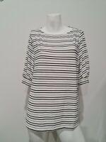 [ H&M ] Womens Striped Blouse Top Black White Boat Neck  | Size EUR L / AU 16-18