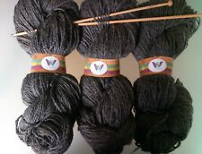 600 g Natural Dark GREY Pure Wool Double Spun Chunky Aran Weight Skeins