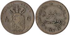1858 Netherlands East Indies 1/10 Gulden Silver Coin KM#304