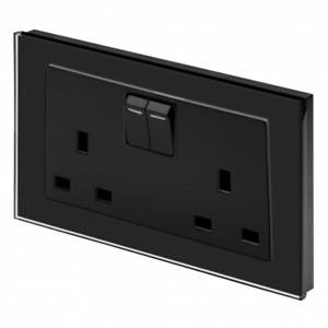 RetroTouch 13 Amp 2 Gang Double Plug Socket Switched Black Glass PG 00651