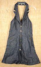 Next  Women Halter Dress Size 14 Denim Blue  Cotton Linen Polyester