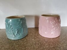 Pair of vintage 50s Hankscraft Baby Bottle Warmers (non-electric), pink & blue