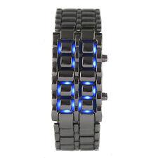 Blu LED Digitale Lava Stile nero orologio da polso Samurai uomini con la cu W6T8