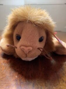 TY 1996 Roary the Lion Beanie Baby. Retired PVC Pellets With Tags