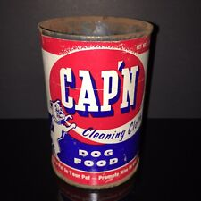 BEST IN SHOW! Cap'n 1940s Dog Food Tin Can BULLDOG Paper Label Old Pet Shop
