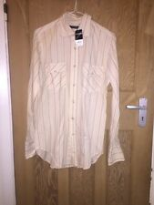 "Top Shop Cream Stripe Casual Cotton Shirt Size S AtoA19"" L30"" BNWT *C1"