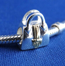 Sterling Silver .925 - Purse Two-Toned- European Charm Bead for Charm Bracelet