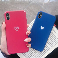 For iPhone Xs Max XR X 6s 7 8 Plus Matte Heart Ultra Slim Hard Case Cover