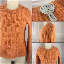Talbot's Sweater Small Orange Wool Alpaca Crew Neck Italy YGI 52K