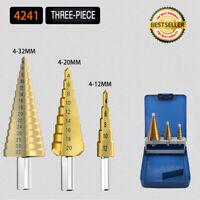 HSS Spiral Step Cone Drill Bit Metal Hole Cutter Titanium Nitride Coated 4-32mm