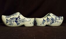 """2 Delft Shoes /Clogs - Signed Blauw - Handpainted 7""""      A PAIR"""