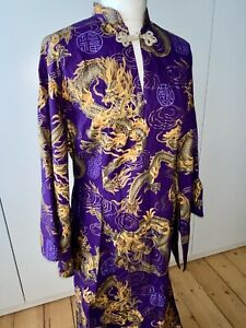 DI BROOKS OUTERLIMITZ VINTAGE TRADITIONAL CHINESE LONG SLEEVE QIPAO / CHEONGSAM