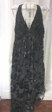 White House Black Market Dress Asymmetrical  Halter Evening Black Gown 8