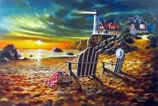 Seaside Rendezvous By Jim Hansel Light house Print Signed and Numbered