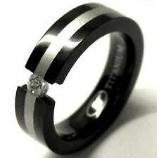 TITANIUM Black Plated TENSION Ring with Round CZ & Silver Plated Band in size 8