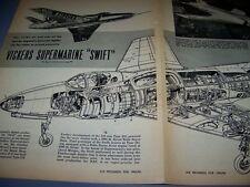 VINTAGE...VICKERS SUPERMARINE SWIFT ..PHOTOS/CUTAWAY/LEGEND...RARE! (329)