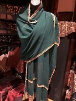 Vintage Green Sari Shawl Scarf 88 In