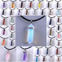 Gemstone Pendant Necklace Natural Quartz Crystal Point Chakra Healing Stone Gift