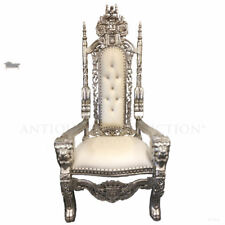Chair Lion King Throne Silver and Cream