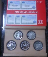 Año 1997 Colección de 5 piezas 2.000 Pesetas PLATA. Patrimonio Mundial UNESCO.