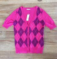 NEW  New York & Co  Womens Sz S Pink Purple Argyle Short Sleeve Sweater Cardigan