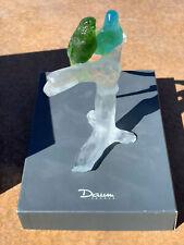 DAUM Crystal PATE DE VERRE Parakeets Budgerigars Budgies Perruches 02341 w/ Box