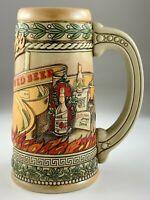 Vintage Stroh's Fire Brewed Beer Stein Brewery Ceramarte Brazil Heritage U465