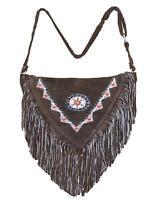 Western Chocolate Brown Suede Leather Cross Body Bag Purse Fringe Beadwork Flap