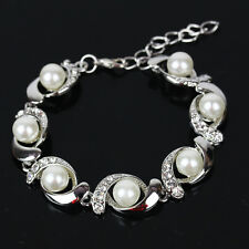 Women Charm Pearl Crystal Zircon Bracelet Bangle Valentine's Day Xmas Jewelry #