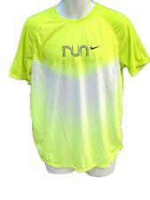 New NIKE RUNNING Mens FitDry Cool Considered Design Gym Top Shirt Lemon Zest L