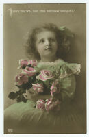 c 1912 Children Child Kid CUTE BLOND GIRL British Edwardian photo postcard