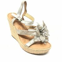 Women's Born Miss Strappy Wedge Sandals Shoes Size 7M Silver Pewter Floral R15