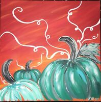 Original Fall Pumpkins Acrylic Painting 10x10 Orange Red Teal Blue Art Canvas