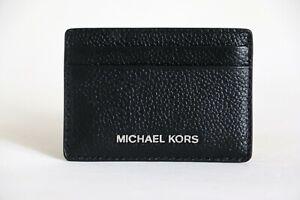 NWT MICHAEL KORS JET SET PEBBLED LEATHER CARD CASE BLACK SILVER