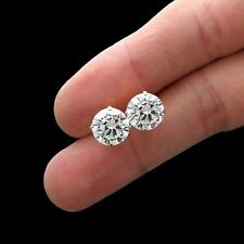7.00CT BRILLIANT CREATED DIAMOND EARRINGS 14K SOLID YELLOW GOLD SOLITAIRE STUDS