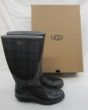 LADIES UGG BLACK AND GREY TARTAN  WELLINGTON BOOTS SIZE UK 6 NEW WITH BOX