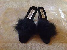 "Anne Jordan 3"" Heel Black Feathered Slipper.Size 8B"