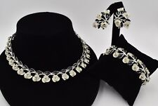 Tiny Roses Flowers Silver White Black Rhinestones Necklace Bracelet Set Vintage