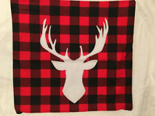 Red & Black Plaid Moose Head Throw Pillow Cushion