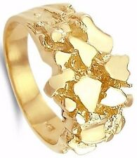 Large Mens Nugget Ring New 14k Solid Yellow Gold