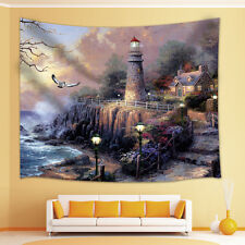 Oil painting lighthouse Tapestry Wall Hanging for Living Room Bedroom Dorm Decor