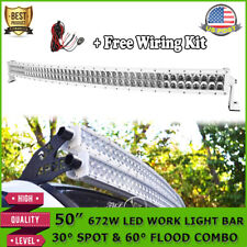 """WHITE 50""""inch 672W Curved LED Work Light Bar Offroad Fit For JEEP Dodge Ram 1500"""