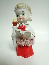 Vintage Christmas Pigtail Choir Girl with Candle 4 Inch Porcelain