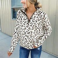 Women Leopard Long Sleeve Shirt Top Casual Zip Pullover Sweatshirt Coat Outwear