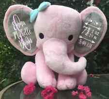 Baby Birthstat Elephant Keepsake Pink