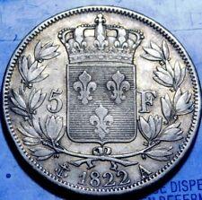 FRANCE Louis XVIII 5 Francs, 1822 Paris KM #711.1  A28-509