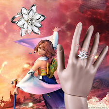 Cafiona Final Fantasy Yuna Cosplay Accessory White Flower Ring Adjustable Size
