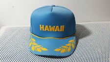 Vintage HAWAII Baby Blue Hat/Cap w/ Yellow Lettering/Wings Mesh Trucker Snapback